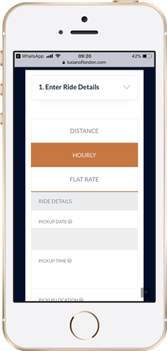 iPhone booking a chauffeur with Luxian of London booking system